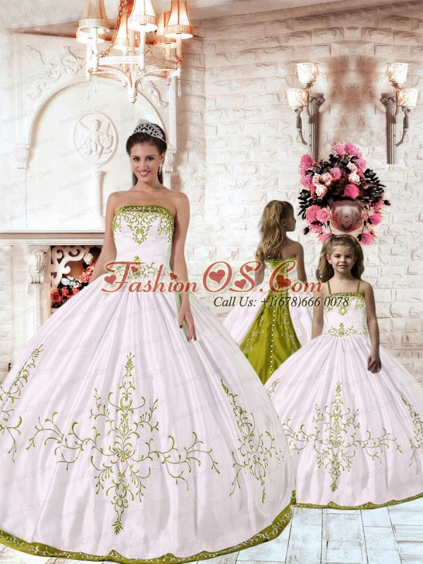 Unique White Princesita Dress with Yellow Green Embroidery for 2015