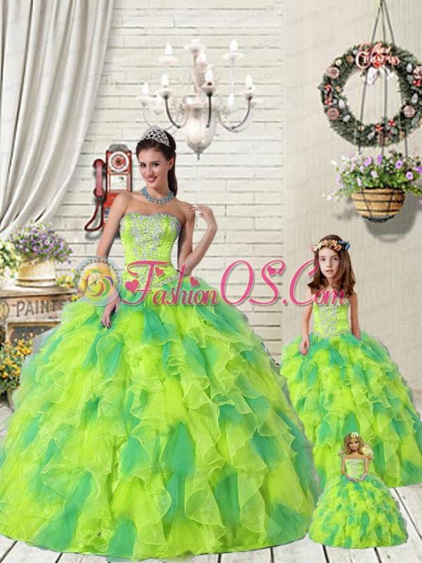 Wonderful Ruffles and Beading Yellow and Green Princesita Dress for 2015