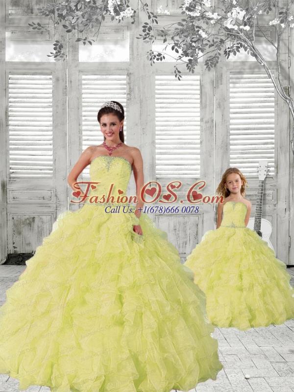 2015 New Style Light Yellow Princesita Dress with Beading and Ruching