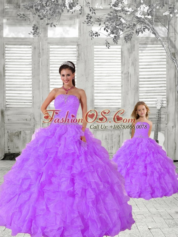 2015 Trendy Lavender Princesita Dress with Beading and Ruching