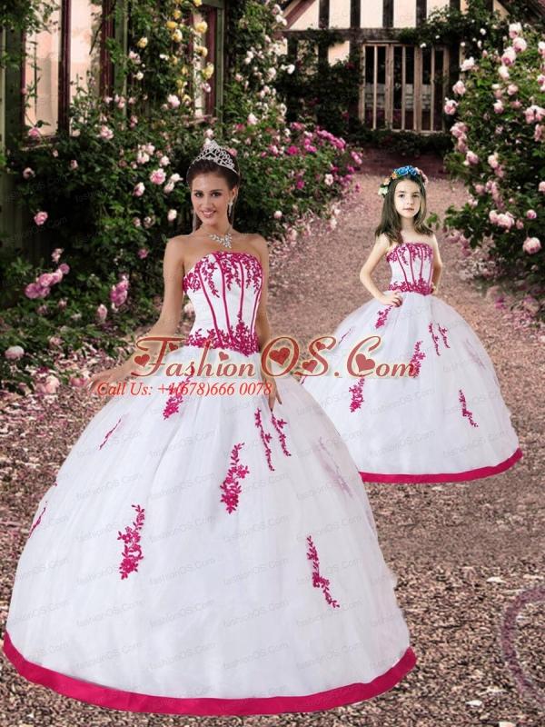 2015 Unique Satin and Organza Appliques White and Hot Pink Princesita Dress
