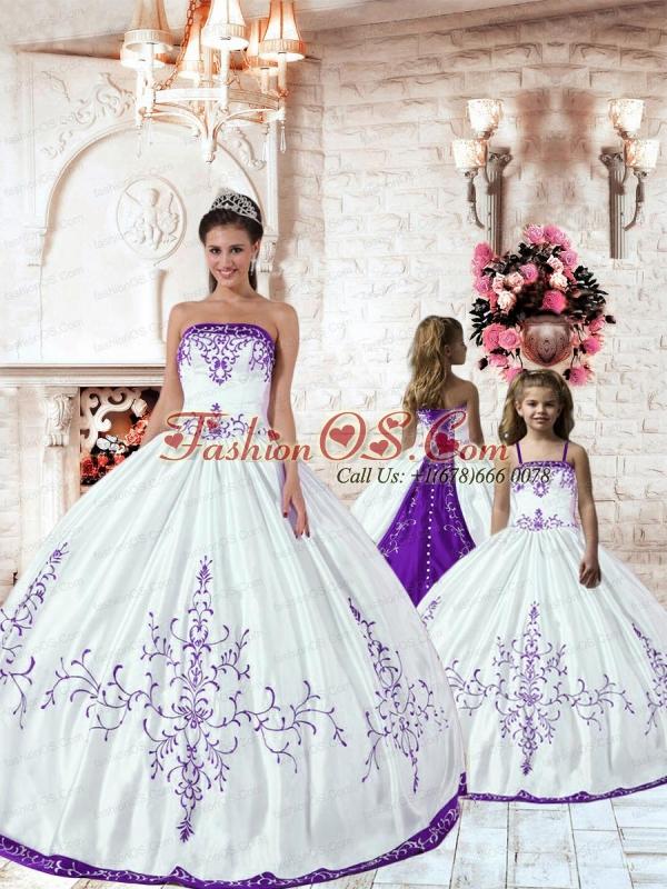 Customize Purple Embroidery White Princesita Dress for 2015