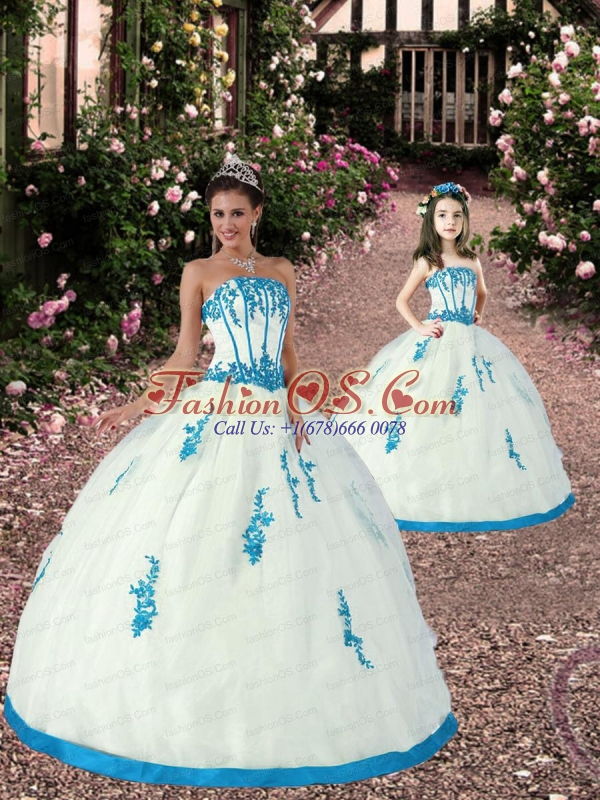 Exquisite Appliques White and Teal Princesita Dress for 2015