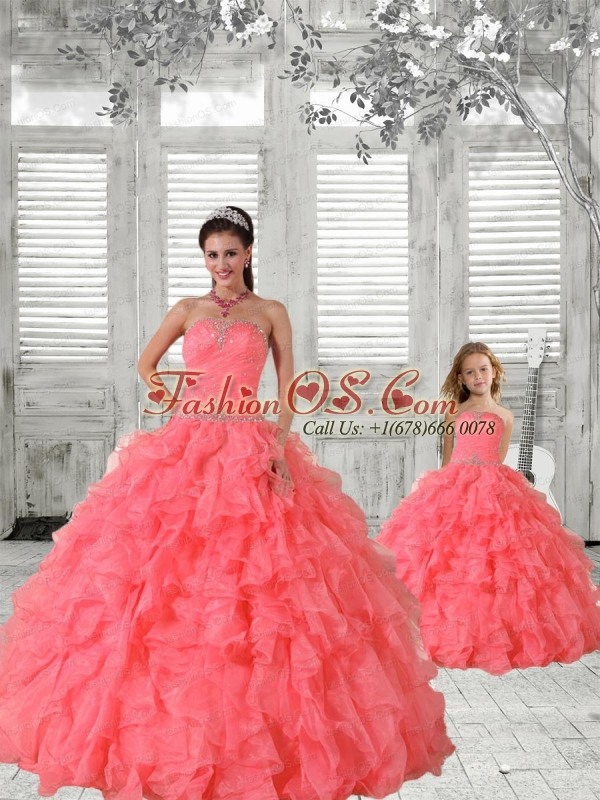 Most Popular Coral Red Princesita Dress with Beading and Ruching for 2015