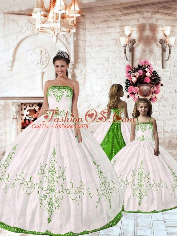Pretty Spring Green Embroidery White Princesita Dress for 2015 Spring