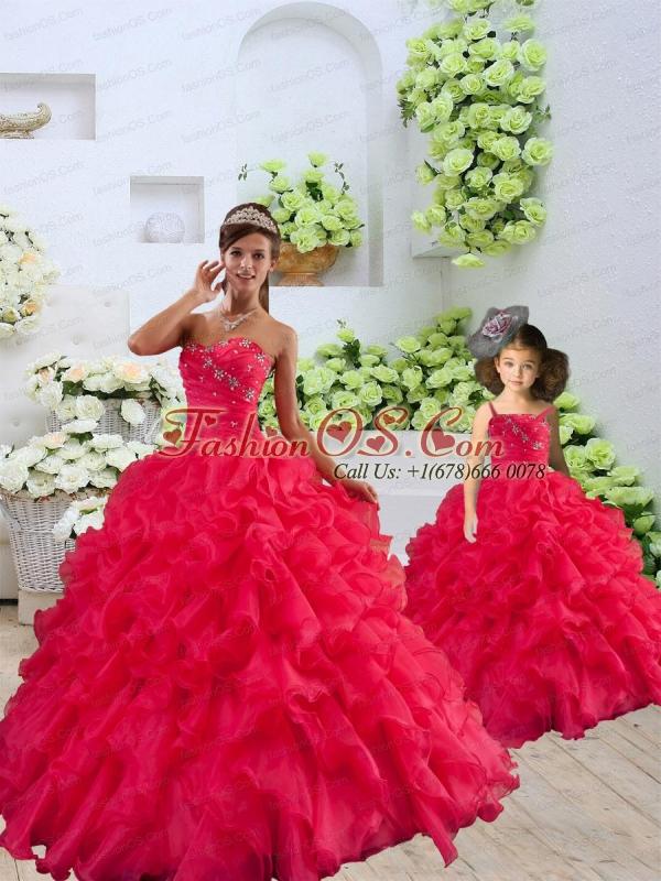 Coral Red Sweetheart Ruffles Organza Princesita Dress with Beading