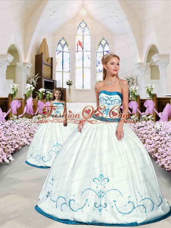 2015 Modest Embroidery White and Blue Princesita Dress