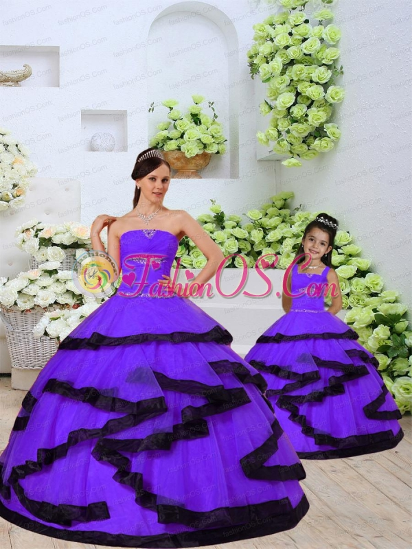 2015 New Style Beading and Ruching Organza Lavender Princesita Dress