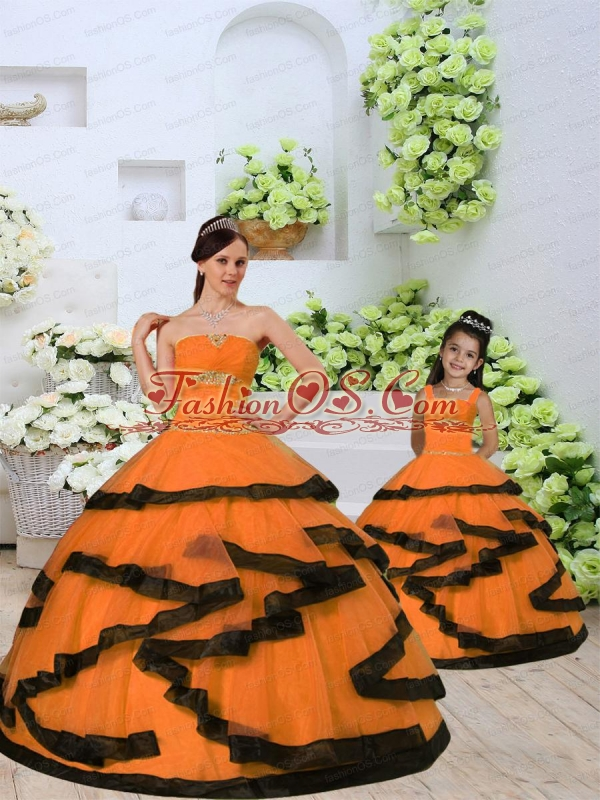 2015 Unique Beading and Ruching Princesita Dress in Orange