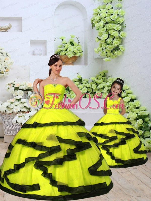 Classical Organza Yellow Princesita Dress with Beading and Ruching for 2015