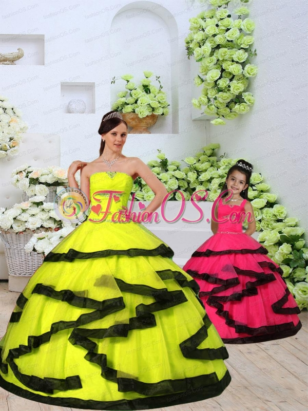 Custom Made Organza Yellow Princesita Dress with Beading and Ruching for 2015
