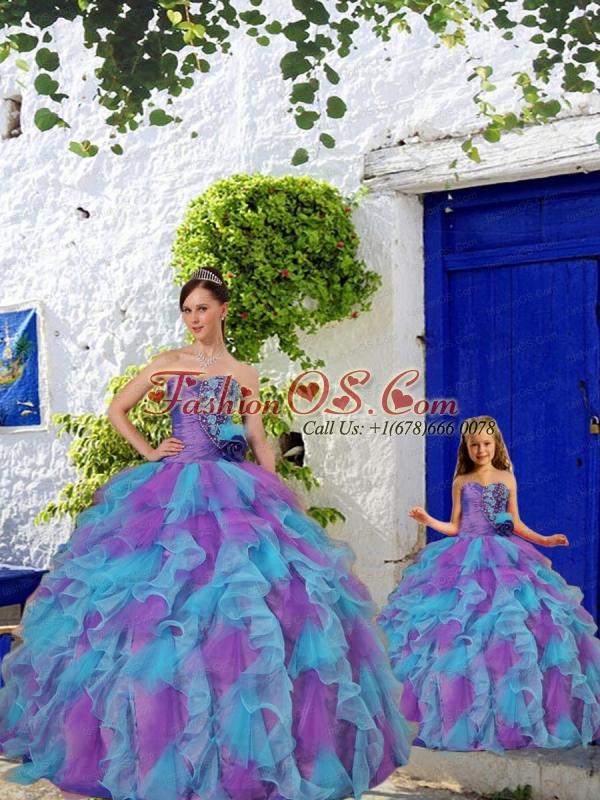 Purple and Aqua Blue Ruffles Organza Princesita Dress with Beading