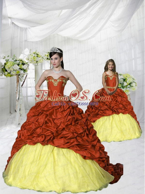 New Style 2015 Appliques Brush Train Wine Red and Yellow Princesita Dress