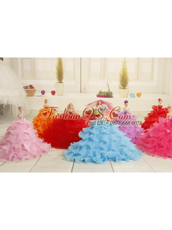 2015 Aqua Blue Bowknot Quinceanera Doll Dress