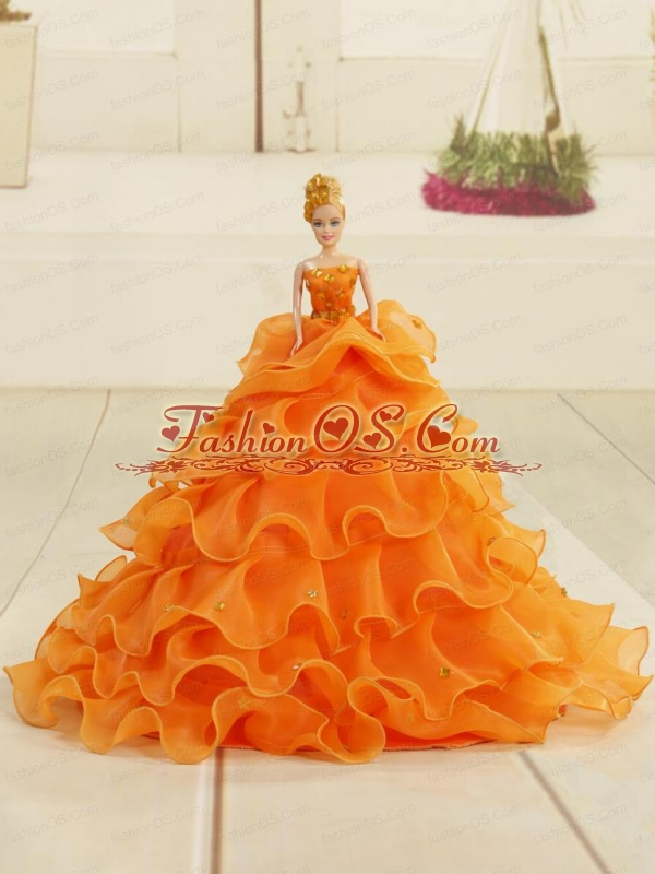 2015 Orange Organza Bowknot Quinceanera Doll Dress