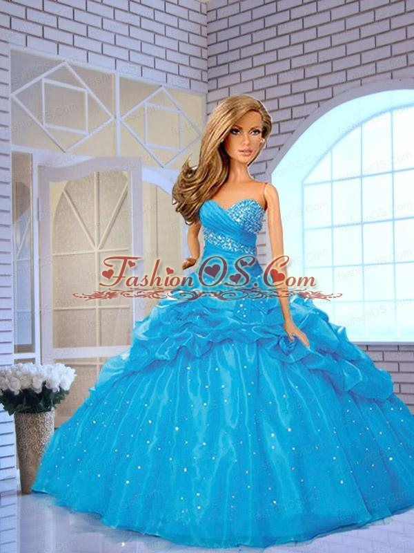 Blue Quinceanera Dress For Quinceanera Doll With Pick-ups And Beading