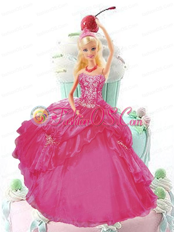 Hot Pink Quinceanera Dress For Quinceanera Doll With Appliques And Pick-ups