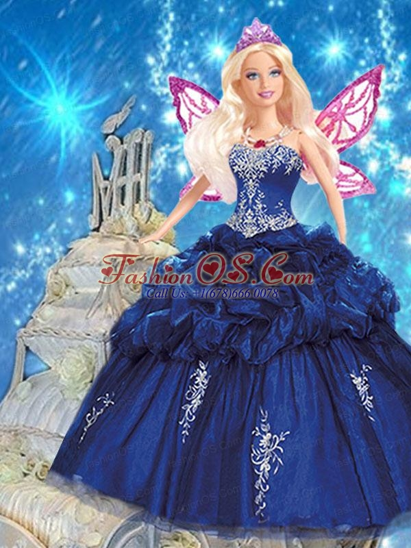 Navy Blue Quince Dress For Quinceanera Doll With Appliques And Pick-ups
