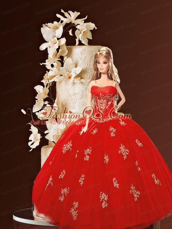 Red Quinceanera Dress For Quinceanera Doll With Appliques