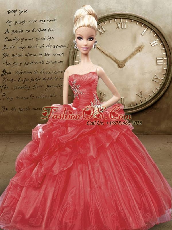 Red Quinceanera Dress For Quinceanera Doll With Appliques And Pick-ups
