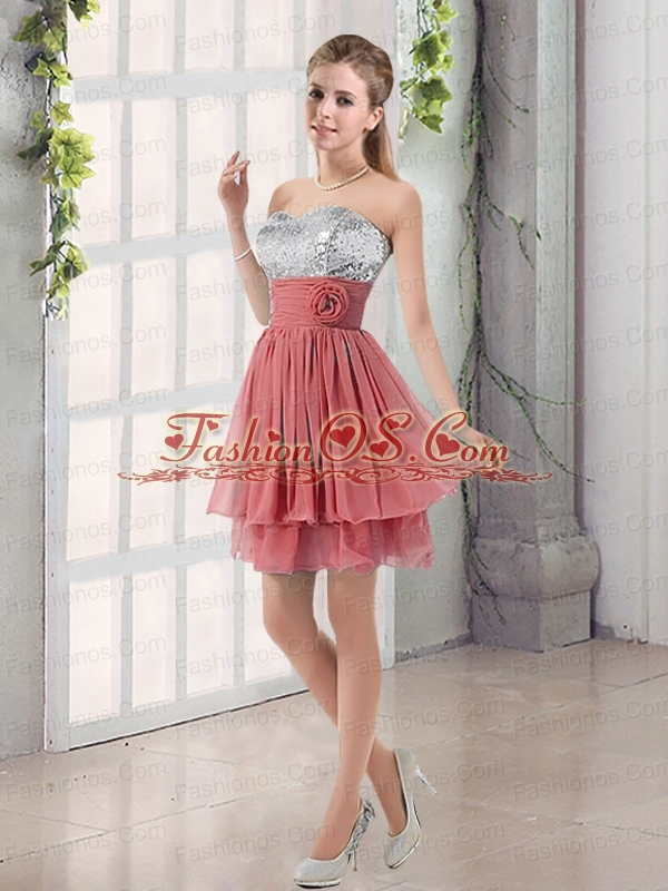 Sweetheart Prom Dresses Dress with Sequins and Handle Made Flowers
