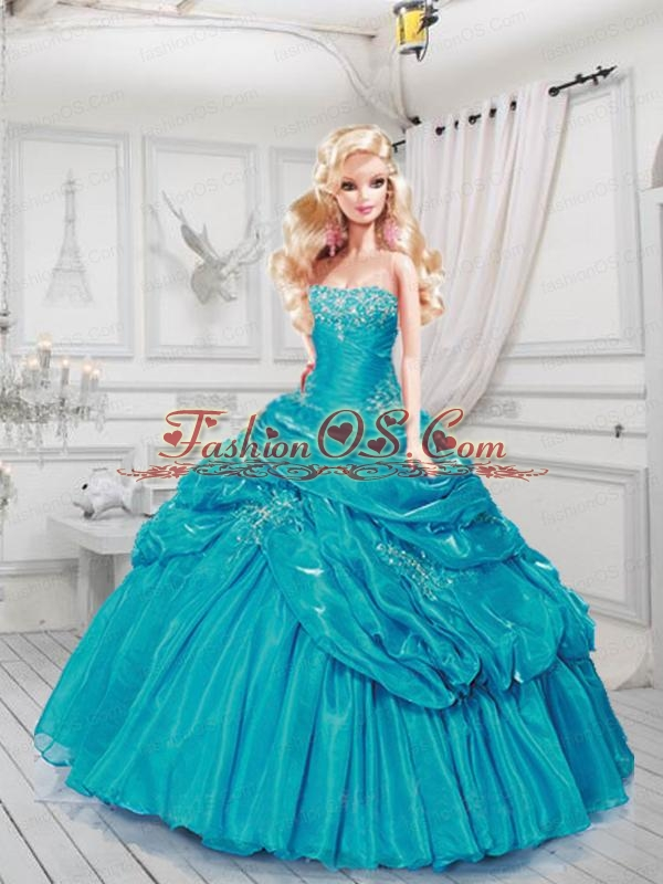 Turquoise Quinceanera Dress For Quinceanera Doll With Ruffles And Beading