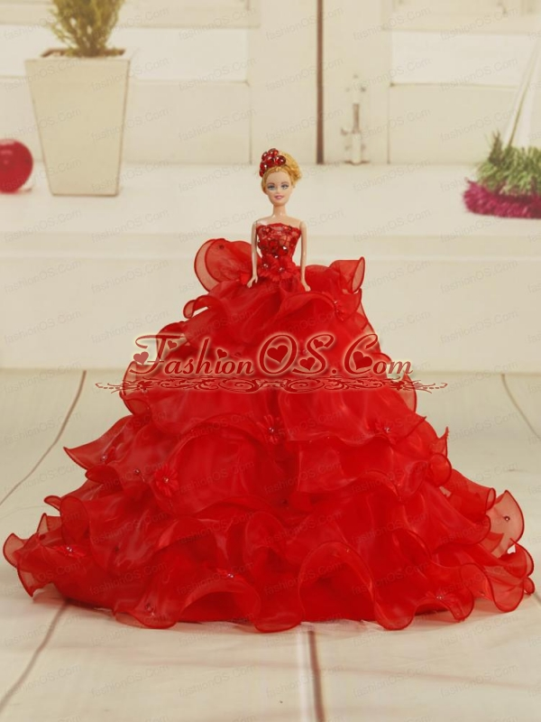 Pretty Bowknot Organza Quinceanera Doll Dress In Red