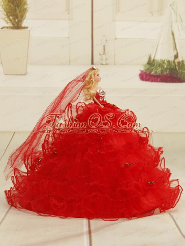 Red Bowknot Organza Quinceanera Doll Dress