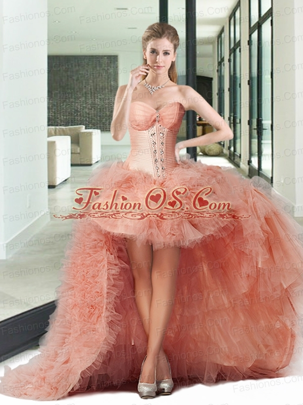 Sturning High Low Pink Prom Dresses with Beading and Ruffles For 2015