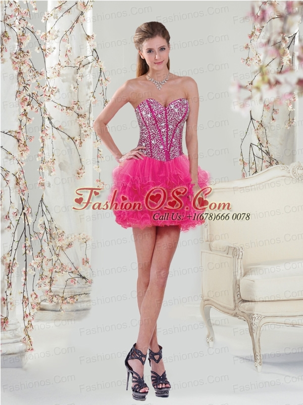 Trendy Beading and Ruffles Hot Pink Prom Dresses for 2015