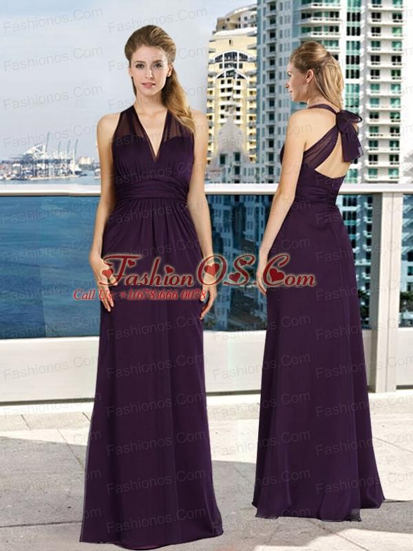 V Neck Empire Ruching Dark Purple Prom Dresses with Floor Length