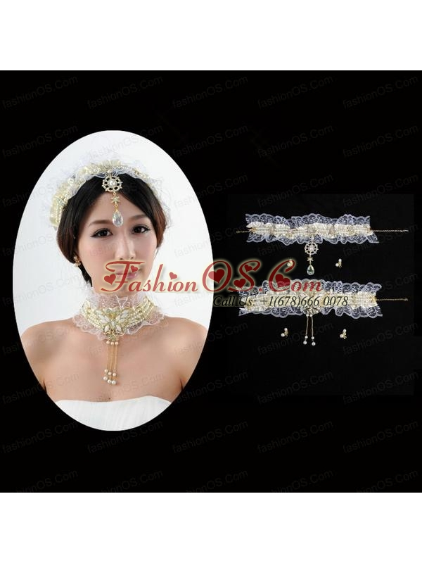Vintage Style Marvelous Pear Jewelry Set Necklace And Headpiece