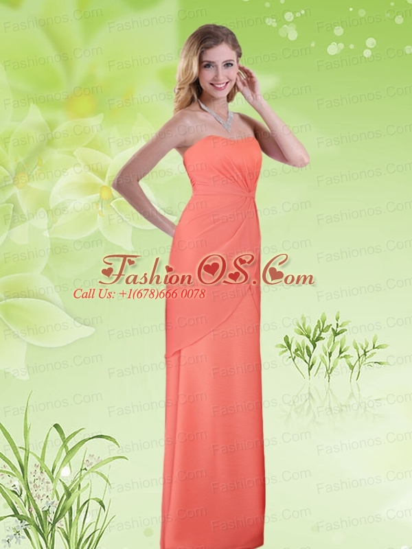 Orange Sweetheart Empire Chiffon Ruching Prom Dresses for 2015
