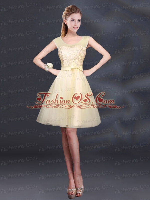 2015 Sturning A Line Belt Prom Dress with Scoop