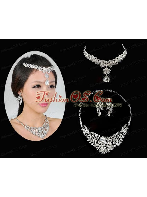 Alloy Wedding Jewelry Set Including Necklace And Earrings in Silver