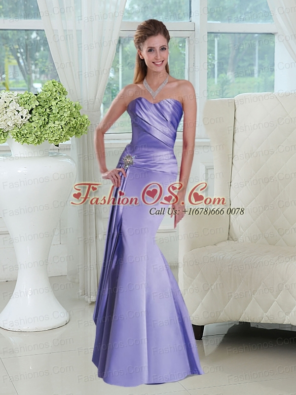 Elegant Lavender Sweetheart Ruched Prom Dresses with Beads