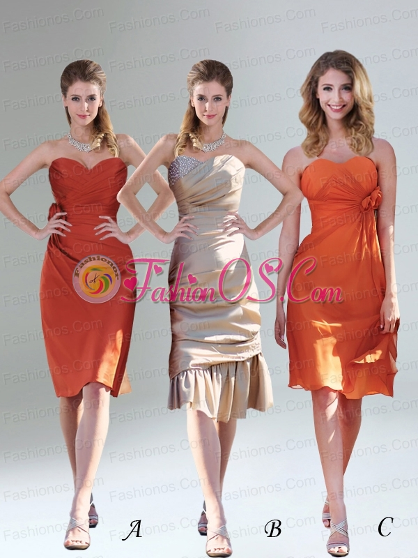 Ruching and Hand Made Flowers Prom Dresses with Sweetheart