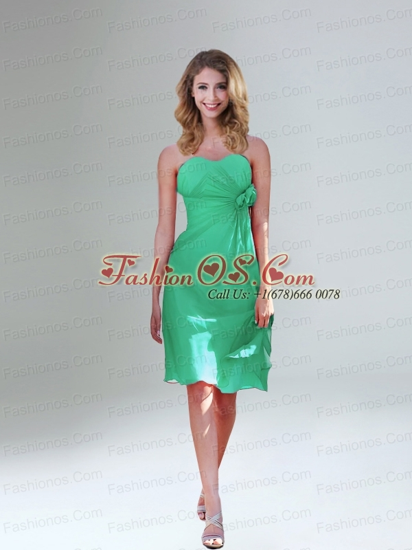 Sweetheart Ruching and Hand Made Flowers Prom Dresses in Orange Red