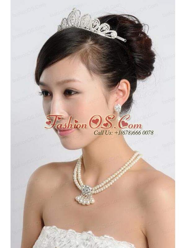 White Imitation Pearl Jewelry Sets Including Necelace and Earings