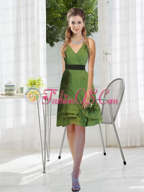 2015 New Style V Neck Prom Dress with Layered Hem