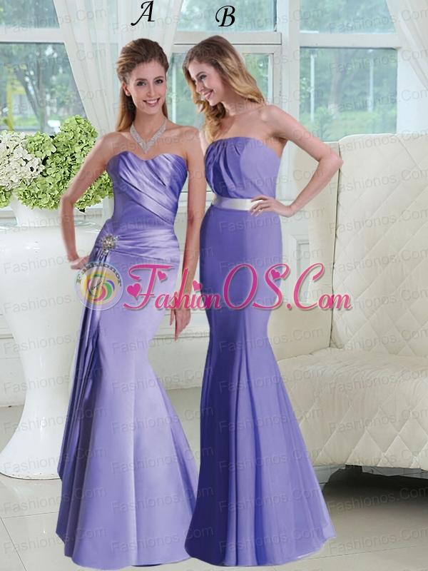 2015 Trumpet Strapless Lavender Prom Dresses with Sash