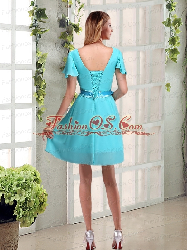 A Line Ruching and Belt V Neck Prom Dress with Cap Sleeves