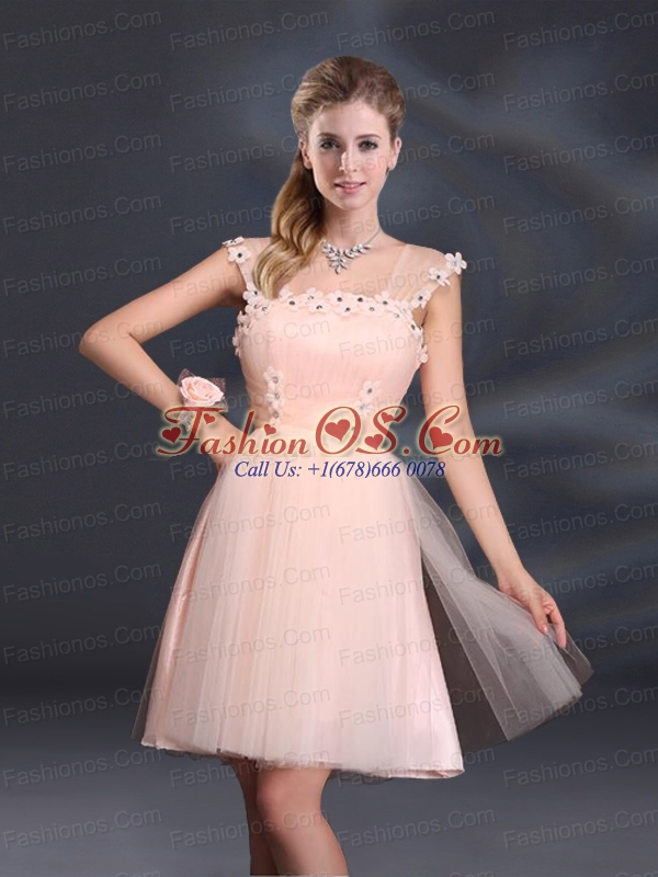 A Line Tulle 2015 Sturning Prom Dresses with Straps