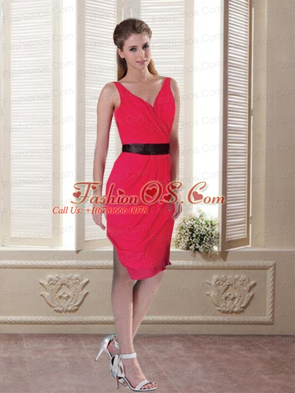 Belt 2015 Fashionable Prom Dress with Ruching