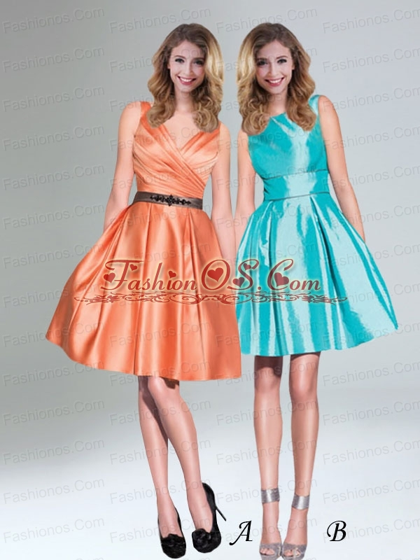 Low Price Orange Taffeta Short V Neck Prom Dresses