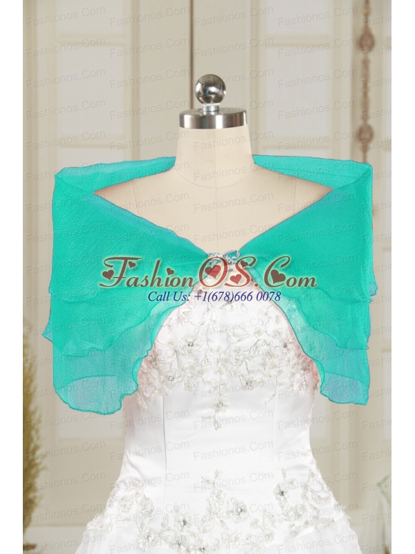 2014 Cheap Turquoise Open Front Shawls with Beading
