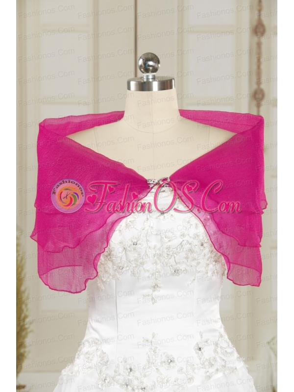 2014 Hot Pink Beading Shawls for Wedding Party