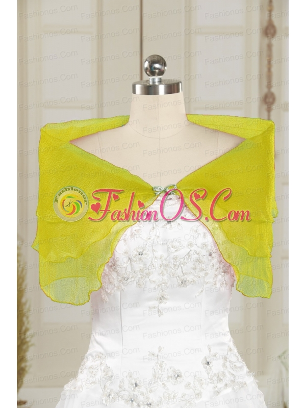 2014 New Style Beading Organza Shawls in Spring Green