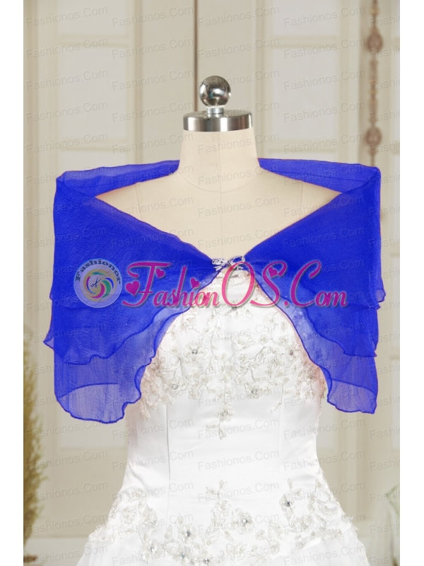 2014 Sweet Beading Open Front Shawls in Blue