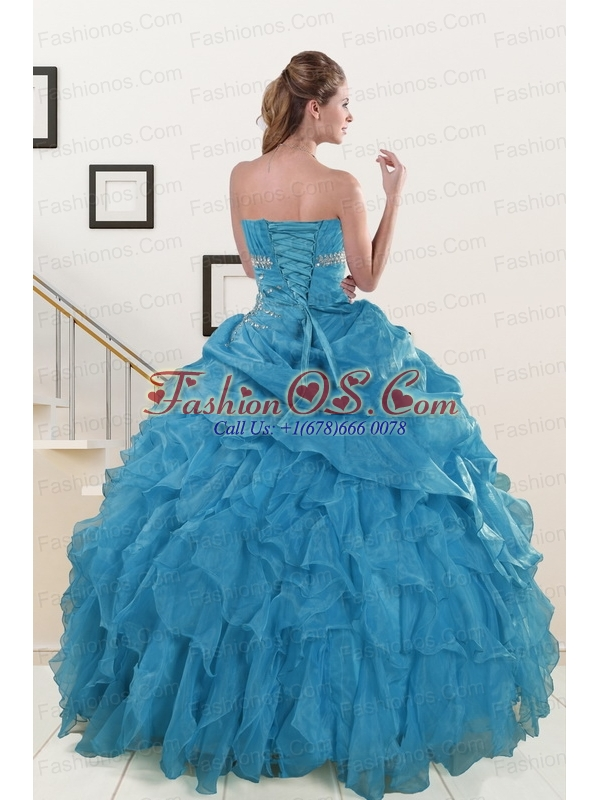2015 Luxurious Strapless Quinceanera Dresses with Beading and Ruffles